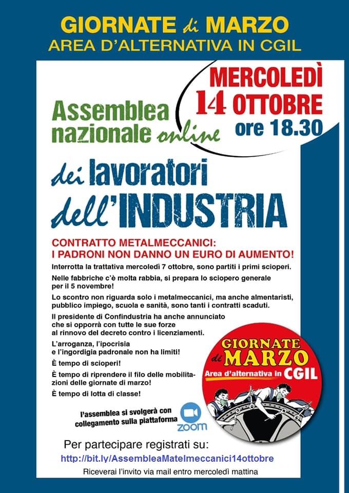 Assemblea nazionale online dei lavoratori dell'industria.