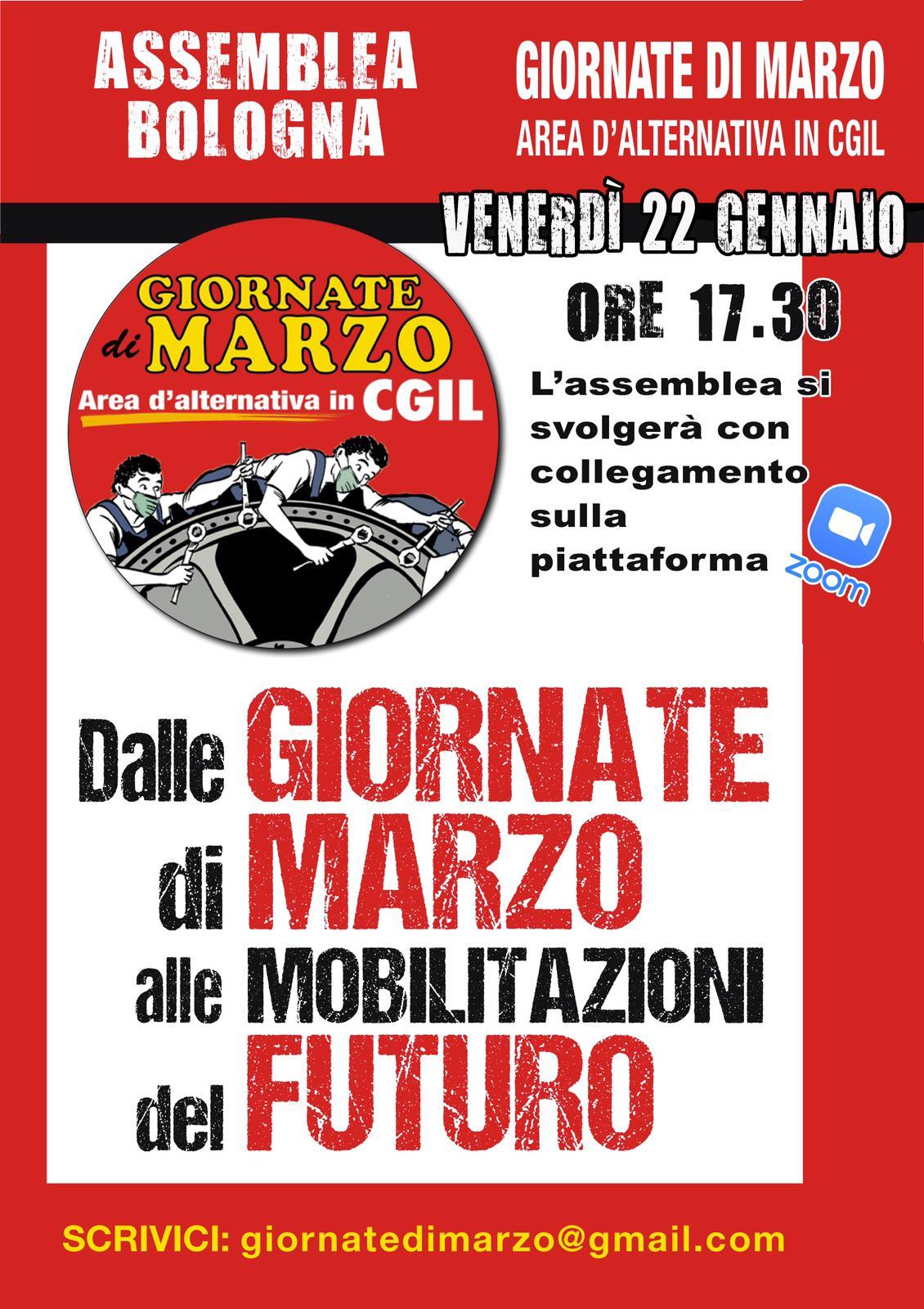 Presentazione dell'area Giornate di marzo a Bologna.