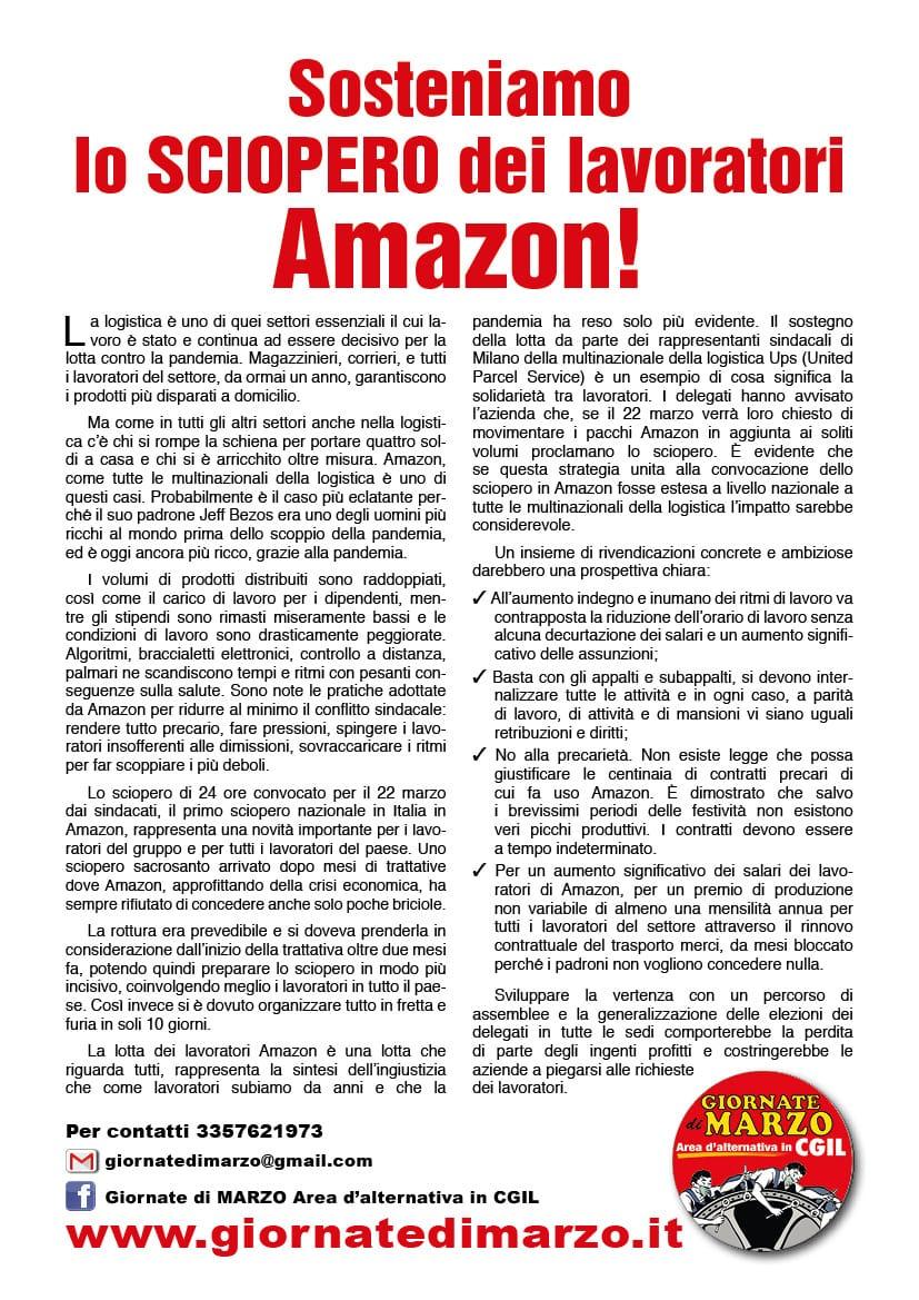 Sosteniamo lo scioperodei lavoratori Amazon!