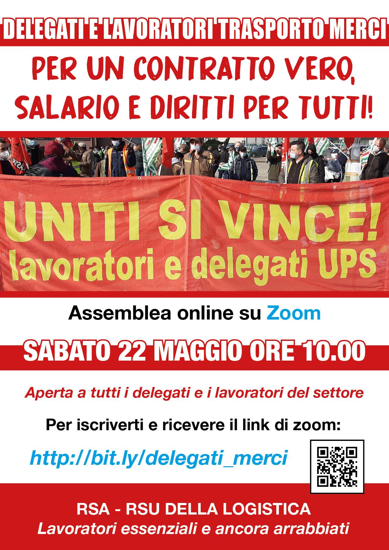 22 maggio: assemblea online delegati e lavoratori Trasporto merci