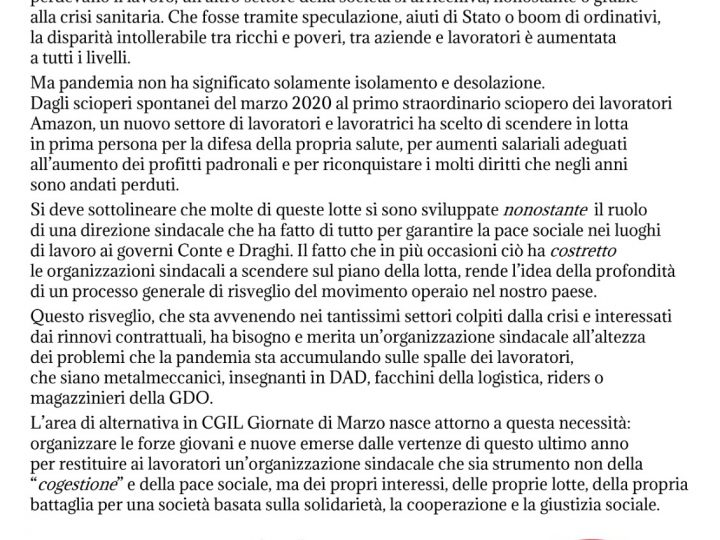 Presentazione dell'area Giornate di marzo a Trieste