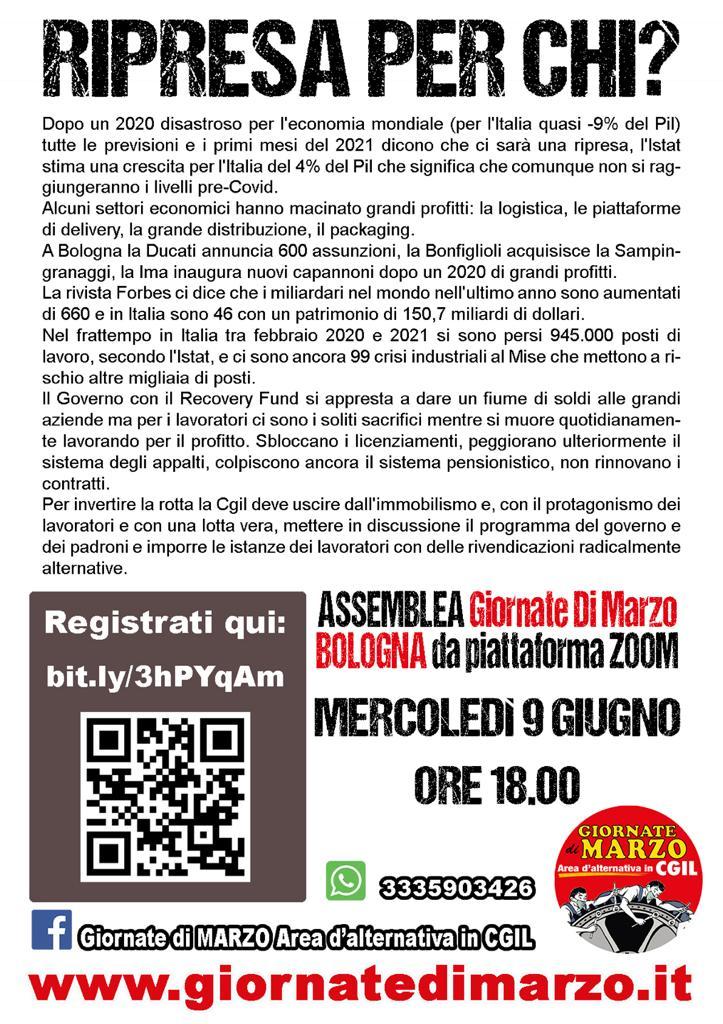 Ripresa per chi? Assemblea dell'area Giornate di marzo a Bologna