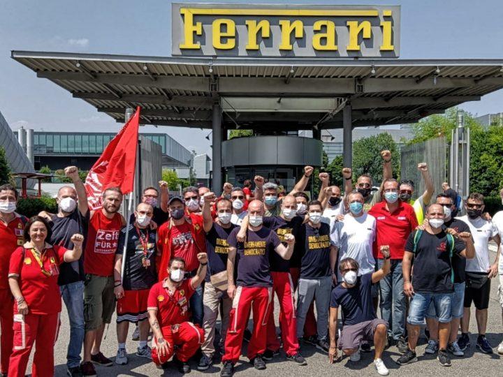 L'incontro tra i lavoratori della Ferrari e i lavoratori della GKN.
